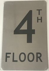 FLOOR NUMBER SIGN- 4TH FLOOR SIGN- BRUSHED ALUMINUM (ALUMINUM SIGNS 8X5)- The Mont Argent Line