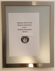 ELEVATOR CERTIFICATE FRAME STAINLESS STEEL (SIZE 8.5'' X 11'')