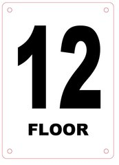 FLOOR NUMBER TWELVE (12) SIGN - ALUMINIUM