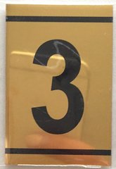 z-NUMBER THREE SIGN – 3 SIGN - GOLD ALUMINUM (2.25X1. 5)