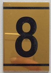 z-NUMBER EIGHT SIGN – 8 SIGN - GOLD ALUMINUM (2.25X1. 5)