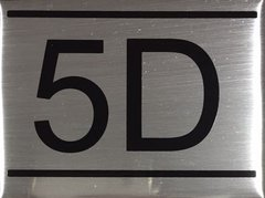 APARTMENT NUMBER SIGN – 5D- BRUSHED ALUMINUM
