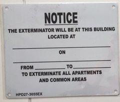 Fire Department Notice - Exterminator Visit Notice