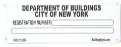 BUILDING REGISTRATION NUMBER (Serial Number Signage HMC §27-2104,WHITE ALUMINUM SIGN)