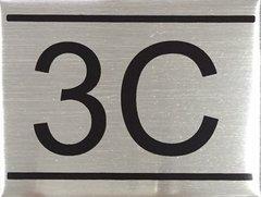 APARTMENT NUMBER SIGN – 3C- BRUSHED ALUMINUM