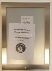 ELEVATOR CERTIFICATE FRAME STAINLESS STEEL (SIZE 6''x9'')