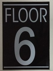 FLOOR NUMBER SIX (6) SIGN – BLACK (5.75X4)
