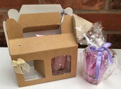 Two bouche glass gel candles in gift box