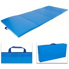 "Folding Floor Exercise Mat 4' x 8' x 2"" Blue"