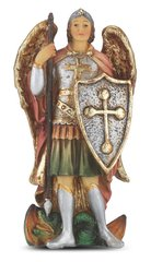 "4"" Saint Michael Hand Painted Resin Statue"