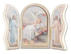 Gold Embossed White Baptism Triptych