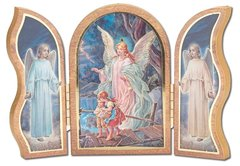 Gold Embossed Guardian Angel Triptych