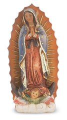 "4"" Our Lady of Guadalupe Hand Painted Resin Statue"