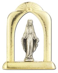 Our Lady of Grace Arched Gold and Silver Standing Plaque