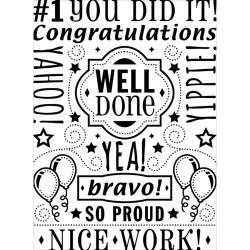 """Congrats Well Done Collage Embossing Folder (4.25""""x5.75"""") by Darice"""