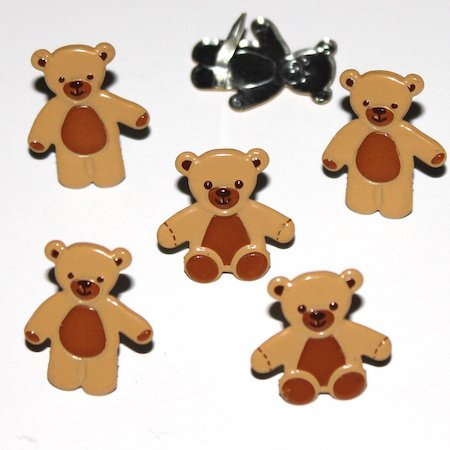 Brown Teddy Bear brads by Eyelet Outlet