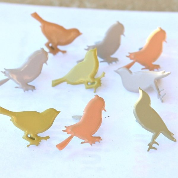 Sitting Bird brads (pastel) by Eyelet Outlet