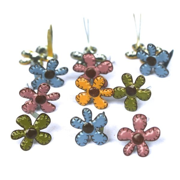 Stitched Fall Flowers Mini brads by Eyelet Outlet