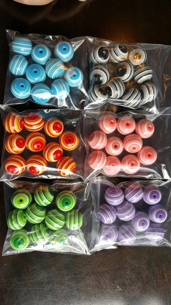 20mm Chunky Gumball Striped Beads (10pcs)