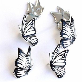 Butterly Brads (black and white) by Eyelet Outlet