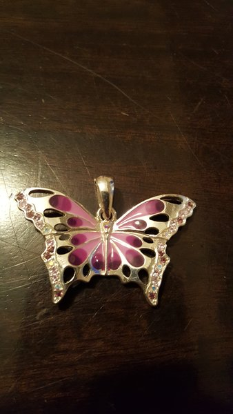 Purple Butterfly Pendant with Rhinestones 45mm