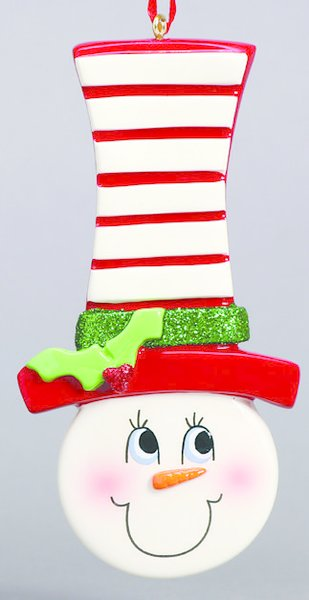 SNOWFACE TOP HAT PERSONALIZED ONAMENT