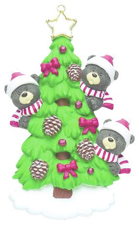 BEAR TREE FAMILY OF 3 PERSONALIZED ORNAMENT