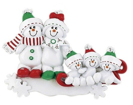 SNOWMAN SLED FAMILY OF 5 PERSONALIZED ORNAMENT