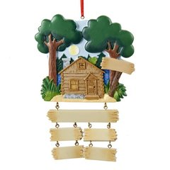 LAKE CABIN FAMILY Of 4 PERSONALIZED ORNAMENT
