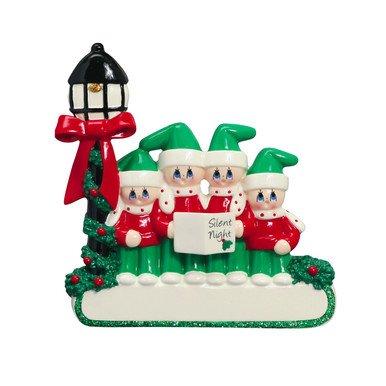 CAROLER FAMILY OF 4 PERSONALIZED ORNAMENTS