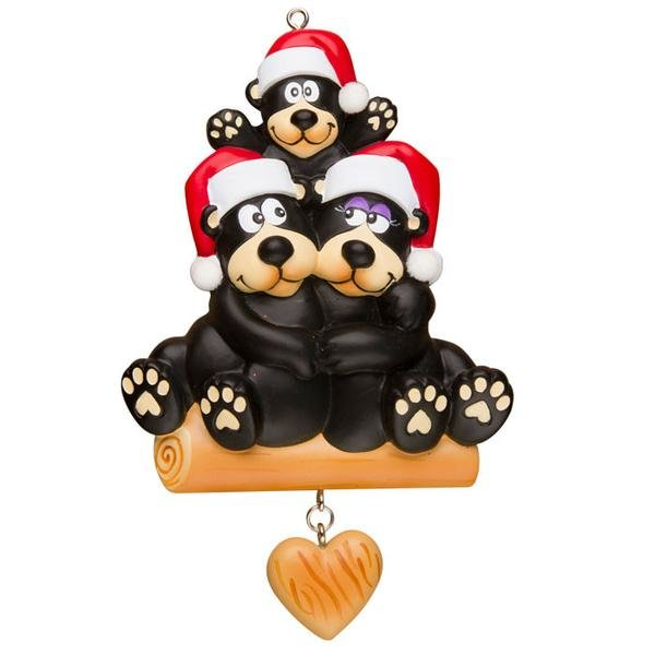 BLACK BEAR FAMILY OF 3 PERSONALIZED ORNAMENT