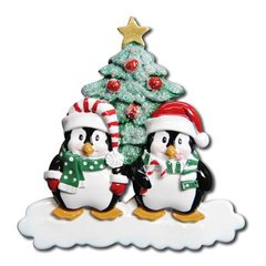 WINTER PENGUIN PERSONALIZED ORNAMENT COUPLE