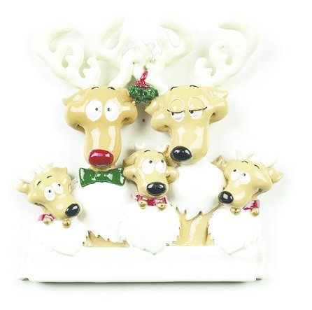REINDEER FAMILY OF 5 PERSONALIZED ORNAMENT