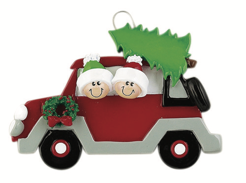 CHRISTMAS TREE CARAVAN COUPLE PERSONALIZED ORNAMENT