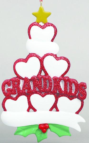 GRANDKIDS HEARTS 6 PERSONALIZED ORNAMENT