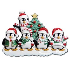 WINTER PENGUIN PERSONALIZED ORNAMENT FAMILY of 5
