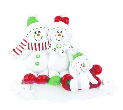 SNOWMAN SLED FAMILY OF 3 PERSONALIZED ORNAMENT