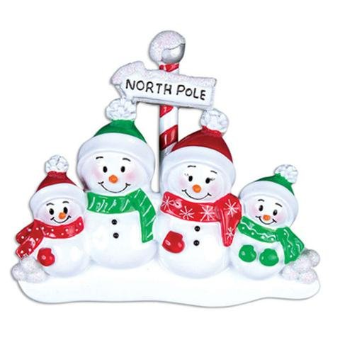 NORTH POLE FAMILY OF 4 PERSONALIZED ORNAMENT