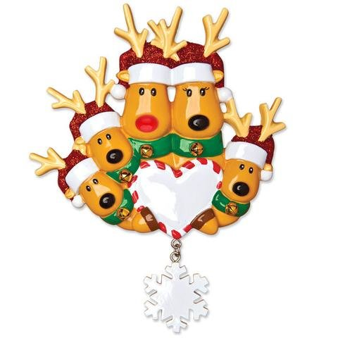 REINDEER SNOWFLAKE FAMILY OF 5 PERSONALIZED ORNAMENT