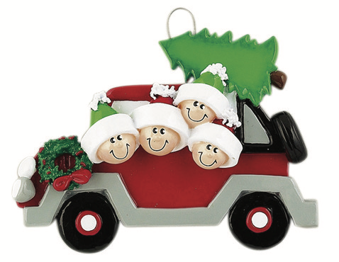 CHRISTMAS TREE CARAVAN FAMILY OF 4 PERSONALIZED ORNAMENT