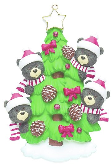 BEAR TREE FAMILY OF 4 PERSONALIZED ORNAMENT