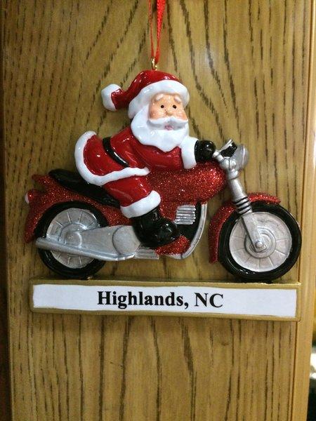 MOTOCYCLE SANTA HIGHLANDS ORNAMENT