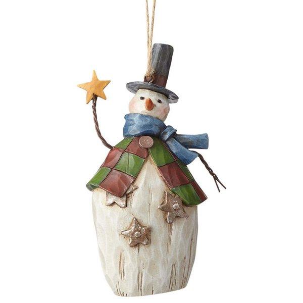 Jim Shore Folklore Snowman With Star Ornament