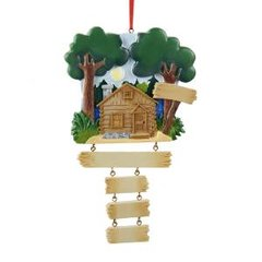 LAKE CABIN FAMILY Of 3 PERSONALIZED ORNAMENT