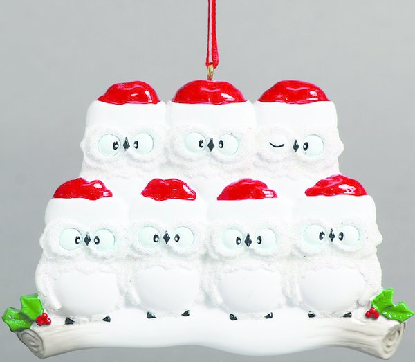 WISE OWLS FAMILY OF 7 PERSONALIZED ORNAMENT