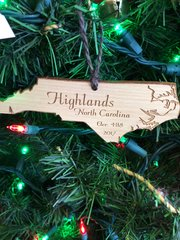 STATE LASER ENGRAVING HIGHLANDS NC ORNAMENT
