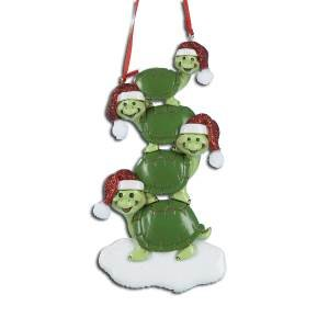 TURTLES FAMILY OF FOUR PERSONALIZED ORNAMENT