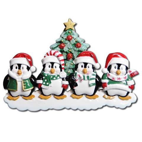 WINTER PENGUIN PERSONALIZED ORNAMENTS FAMILY OF 4