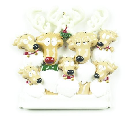 REINDEER FAMILY OF 7 PERSONALIZED ORNAMENT