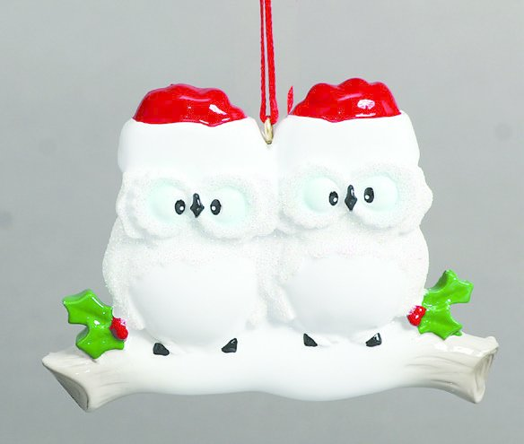 WISE OWLS COUPLE PERSONALIZED ORNAMENTS